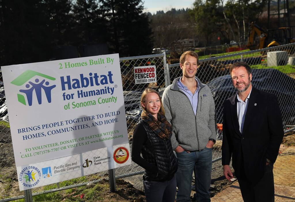 Chelsea Boss, general manager of Senses Wines, left, and Chris Strieter, founder of Senses Wines, are spearheading the Rebuild Wine Country effort, and have partnered with John Kennedy, chairman of Habitat for Humanity of Sonoma County, to raise money to pay for materials to build new houses.(Christopher Chung/ The Press Democrat)