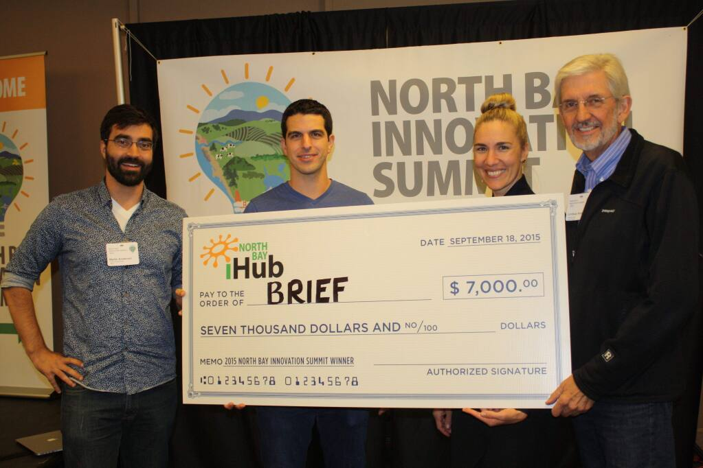 Brief inc. won the $7,000 prize as 2015 Top Innovator at the North Bay Innovation Summit. Shown are, from left, Martin Anderson, Brief CFO; Jared Ranere, CEO; Amee Sas, executive director of SoCo Nexus; and Lindsay Austin, board chairman of Sonoma Mountain Business Cluster. In the second year of the competition, held Sept. 18, 2015, 12 startups competed for recognition and cash awards. (Gary Quackenbush / North Bay Business Journal)