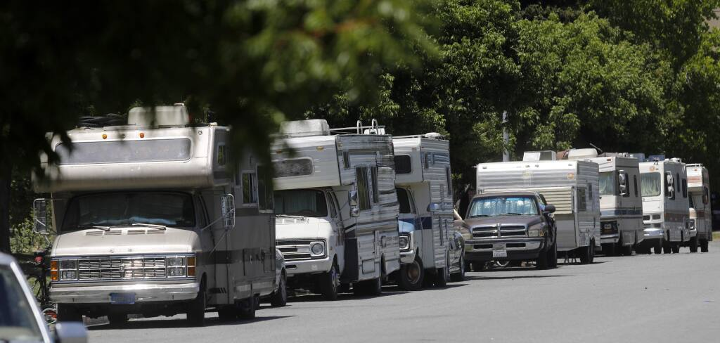 RVs line the side of Apollo Way in Santa Rosa on Wednesday, June 27, 2018. (BETH SCHLANKER/ PD)