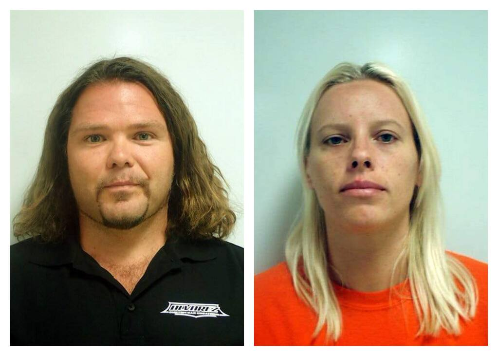Sam Lindsey Massette,left, and his wife, Krystina Marie Pickersgill, shown in undated jail booking photos. (LAKE COUNTY SHERIFF'S OFFICE)