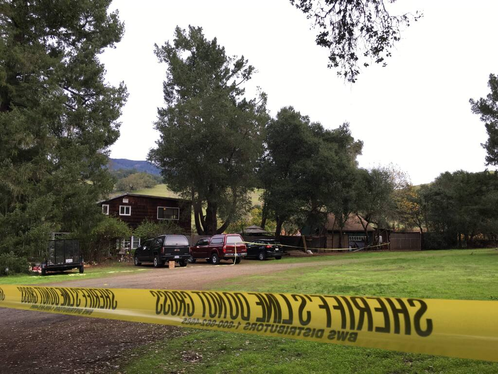 A man was stabbed to death at a Knights Valley property, where crime tape cordoned off the scene for Sonoma County sheriff's detectives on Friday, Nov. 25, 2016. (JULIE JOHNSON/ PD)