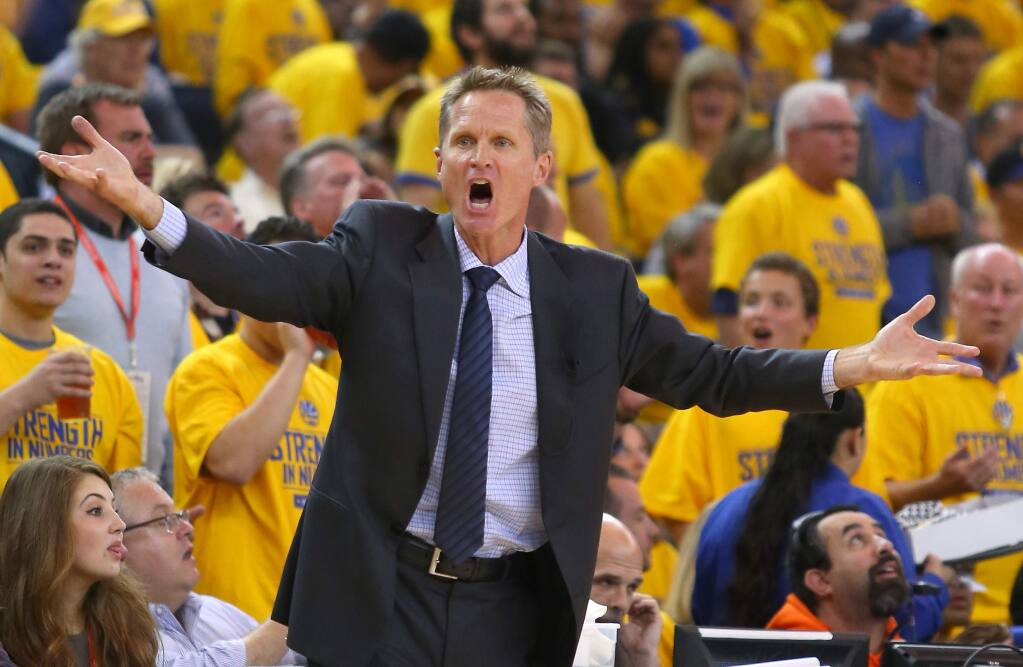 Golden State Warriors head coach Steve Kerr argues a call during Game 2 of the NBA Playoffs Western Conference Semifinals in 2015. Kerr will be the guest at the Sonoma Speaker Series on Oct. 1. (Christopher Chung/ The Press Democrat)