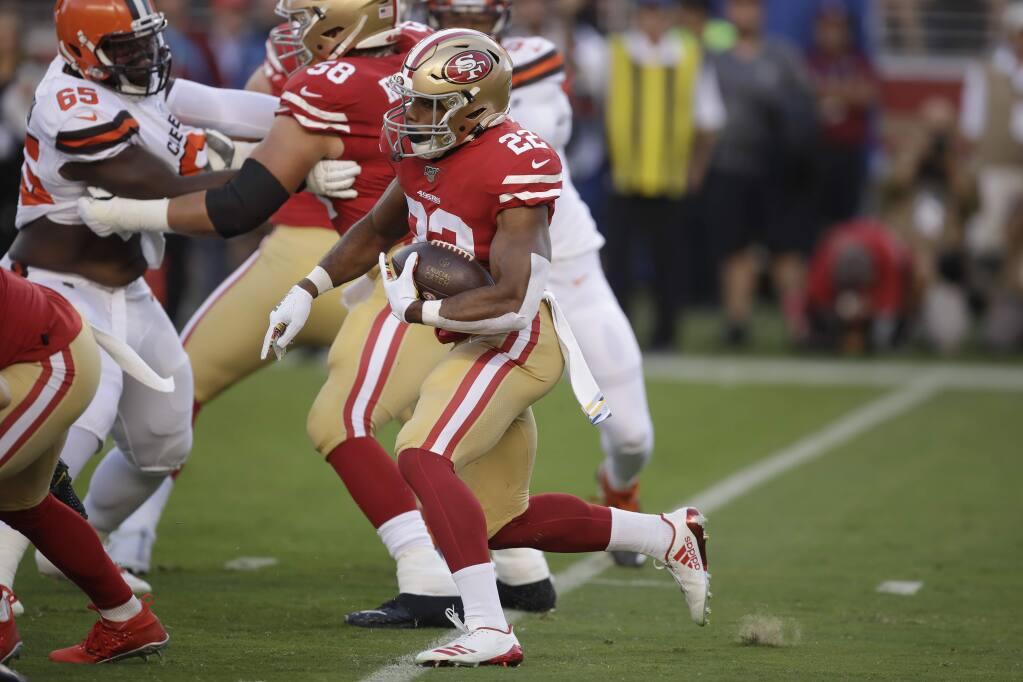 San Francisco 49ers running back Matt Breida (22) runs for a touchdown against the Cleveland Browns during the first half of an NFL football game in Santa Clara, Calif., Monday, Oct. 7, 2019. (AP Photo/Ben Margot)