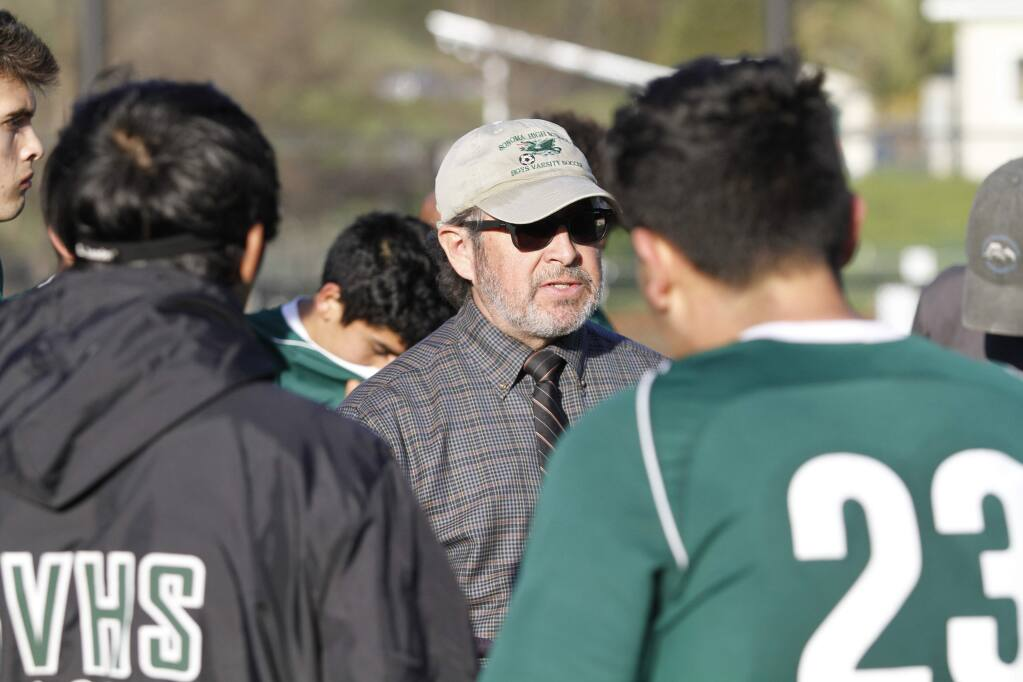 Bill Hoban/Index-TribuneSonoma boys soccer Coach Pedro Merino talks to his team at halftime during a recent playoff game. Merino was named the SCL's boys soccer Coach of the Year.
