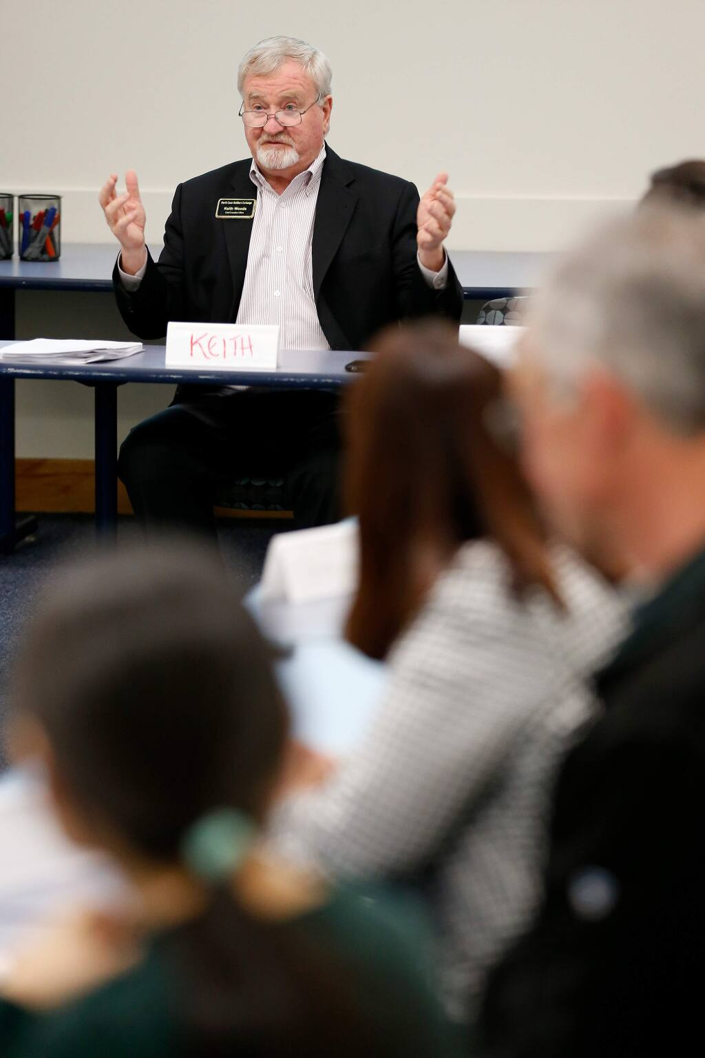 Guest speaker Keith Woods, CEO of North Coast Builders Exchange, gives a presentation during a block captains meeting at the Sonoma County Administration Center in Santa Rosa, California, on Thursday, January 24, 2019. (Alvin Jornada / The Press Democrat)