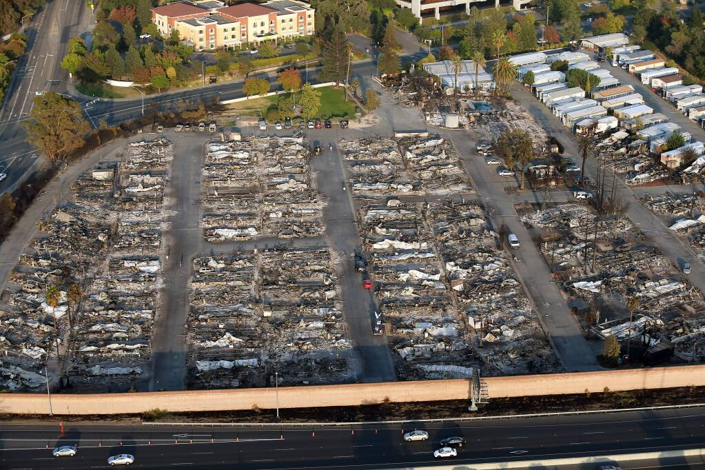Mobile homes in the Journey's End park in Santa Rosa burned in the 2017 Tubbs Fire. (JOHN BURGESS / The Press Democrat)
