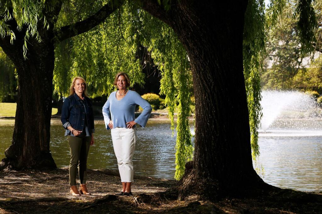 Geodesy Wine founder Judy Jordan, right, and managing partner Kathryn Lindstrom in Santa Rosa, California, on Wednesday, April 24, 2019. (Alvin Jornada / The Press Democrat)