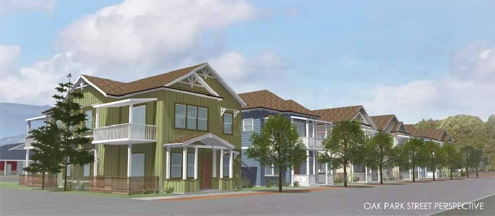 Architectural rendering of one of the six buildings in the planned Windsor Veterans Village project in the northern Sonoma County town. It is set to have 60 units of permanent housing for those with former military service and their families. Construction is set to start in spring 2019. (ARCHILOGIX)