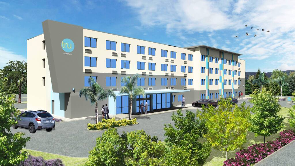 A rendering of the Tru by Hilton hotel proposal awaiting its building permit from Sonoma County, with plans for completion in summer 2021. (Optimal Hospitality, Inc.)