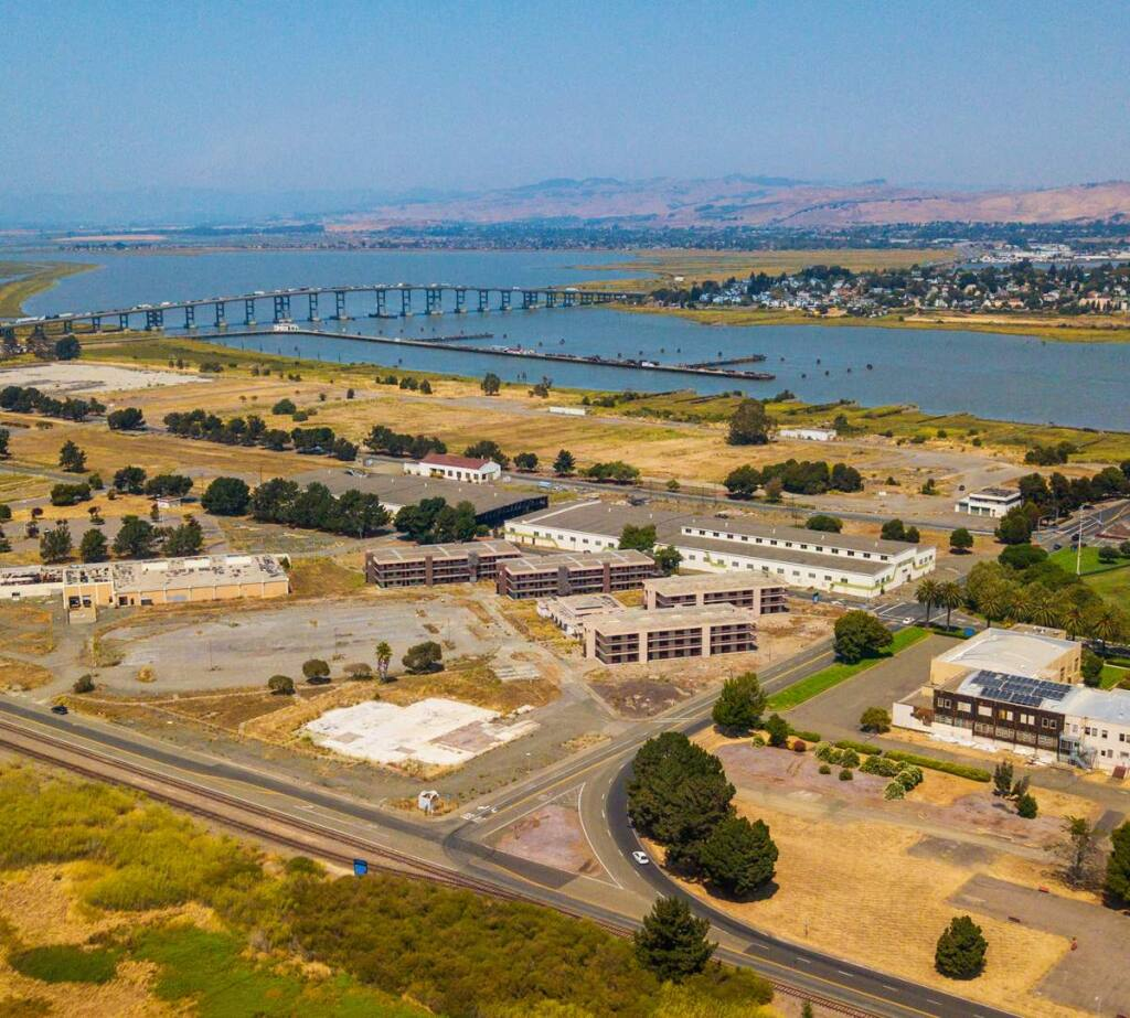 The six buildings in the left foreground of this view of Vallejo's north Mare Island are set for demolition July-August 2018 to prepare for redevelopment by the Nimitz Group. (CITY OF VALLEJO)