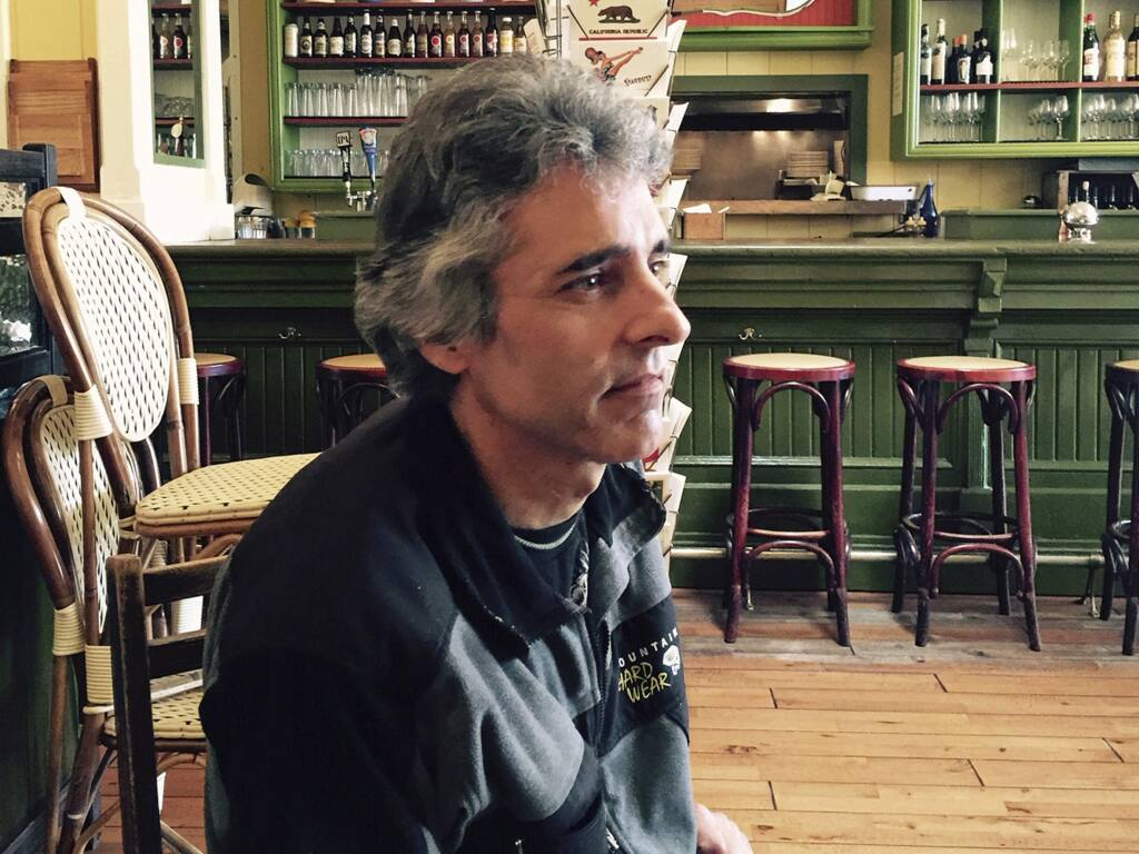 This Sept. 28, 2015, photo provided by Catherine Aguilera shows David Glen Ward at the Willow Wood Cafe in Graton, Calif. Authorities in Northern California say Ward, who died last week after being restrained by Sonoma County sheriff's deputies who suspected him of carjacking, was the rightful owner of the vehicle which he had reported stolen days earlier. Officials Monday, Dec. 2, 2019, described the chain of events that ended when one deputy tased Ward and another placed him in a carotid restraint during a pre-dawn confrontation. (Catherine Aguilera via AP)