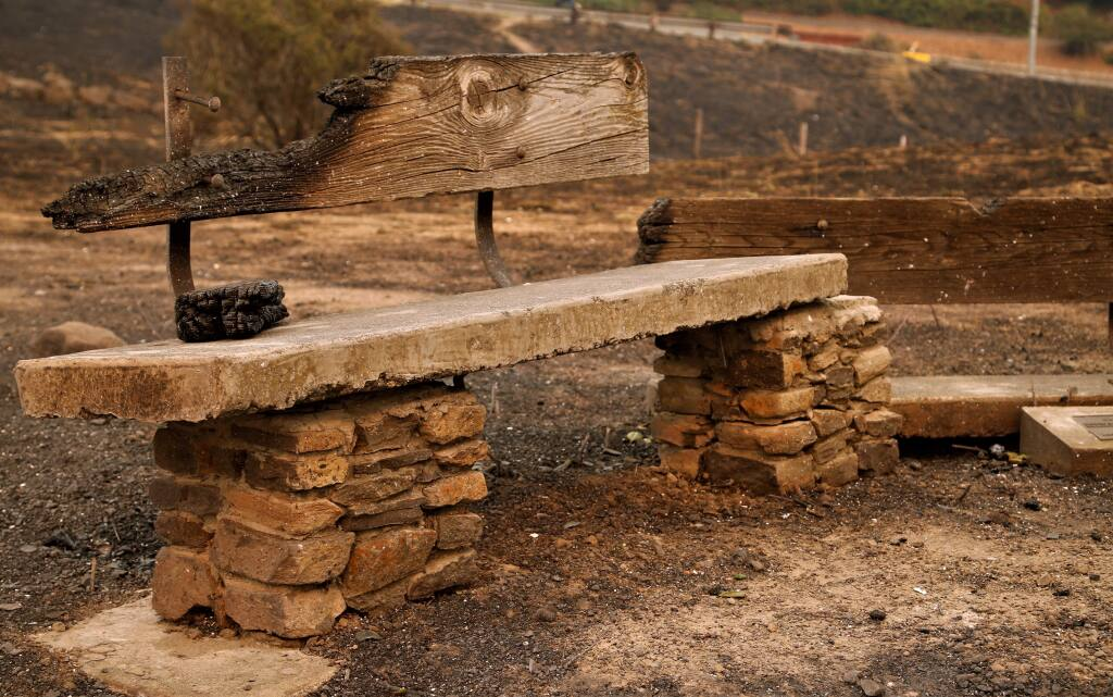 Fire Aftermath. This bench is all that remains of the historic Fountaingrove Round Barn. The aftermath of the fires that have spread through Sonoma, Napa and Mendocino counties have claimed 10 lives and over 1,500 structures Photos Will Bucquoy/ for the Press Democrat).