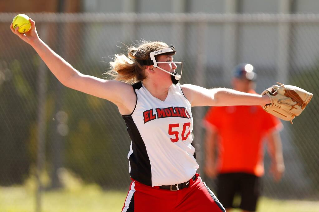El Molino's Katelynn Tourady (50) pitches during the second inning of a varsity softball game between El Molino and Santa Rosa high schools in Santa Rosa, California, on Tuesday, April 23, 2019. (Alvin Jornada / The Press Democrat)