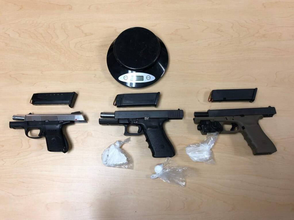 Police recovered three loaded guns and arrested two men and two 17-year-old boys following a traffic stop in Santa Rosa on Wednesday, Sept. 19, 2018. (SANTA ROSA POLICE DEPARTMENT)