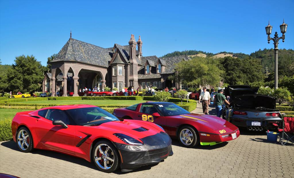 Nearly 100 polished and gleaming Corvettes gathered on Ledson Winery's circular driveway in October, 2017, for the 11th Annual Corvettes at the Castle event in Kenwood, California. The party is one of the smaller wine-related events in Sonoma Valley over the course of the year. (Photo Will Bucquoy/for the Press Democrat).