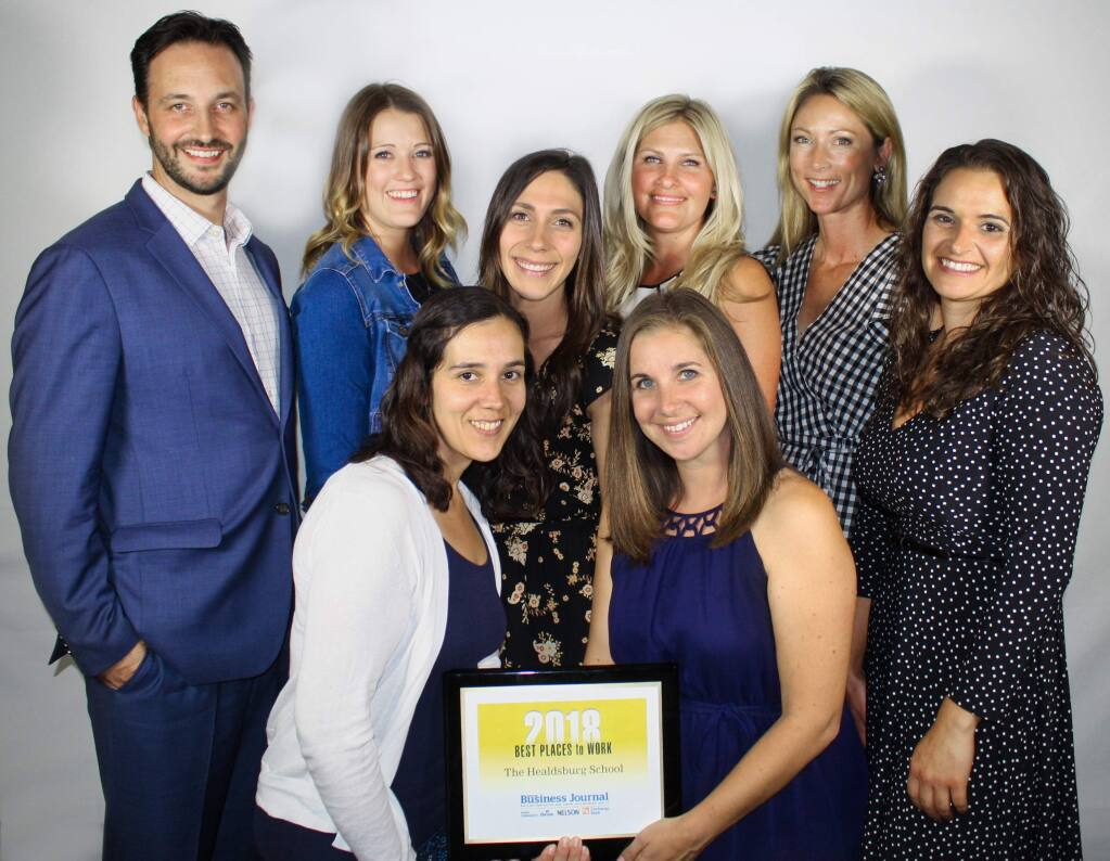 Staff of first-time winner The Healdsburg School receive one of North Bay Business Journal's Best Places to Work awards at Hyatt Regency Sonoma County hotel on Sept. 20, 2018. (GARY QUACKENBUSH / FOR NORTH BAY BUSINESS JOURNAL)