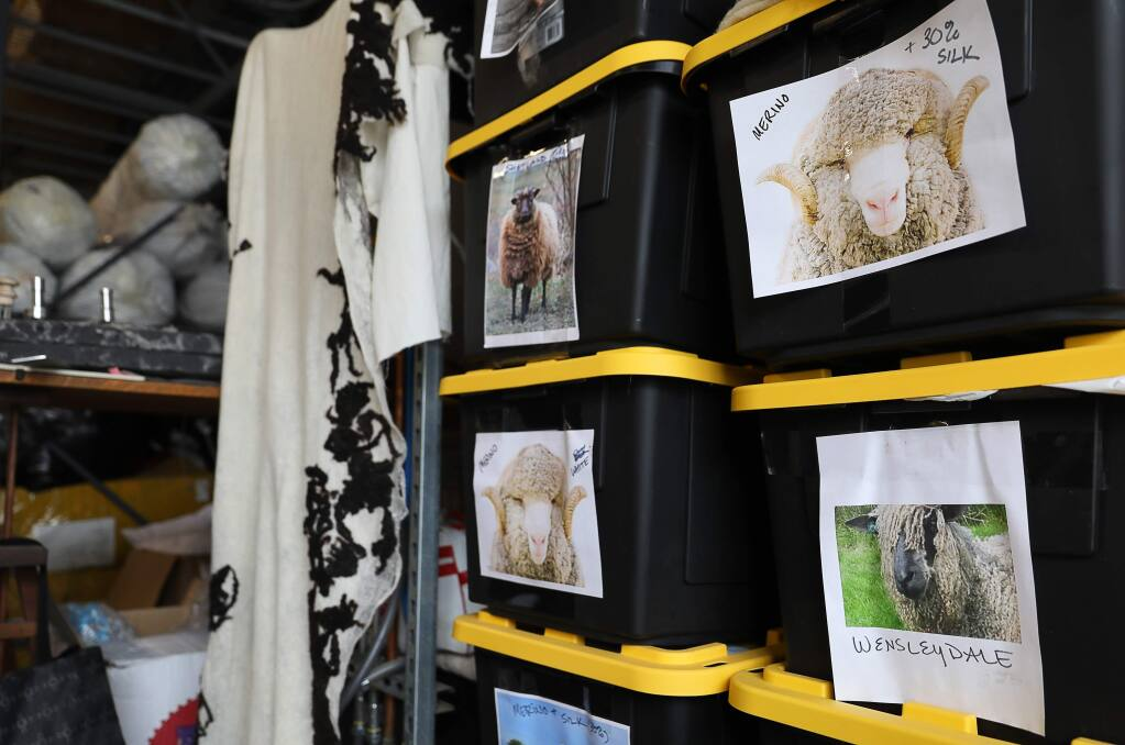 Photographs of various sheep show what kind of wool is stored inside boxes at JG Switzer, in Sebastopol on Monday, February 11, 2019. (Christopher Chung/ The Press Democrat)