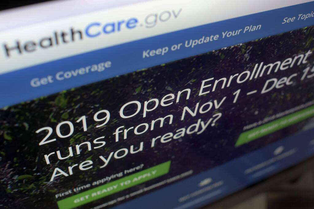 A photo showing the HealthCare.gov website on a computer screen in New York. The Obamacare sign-up period for next year runs from Nov. 1 to Dec. 15. (PATRICK SISON / Associated Press)