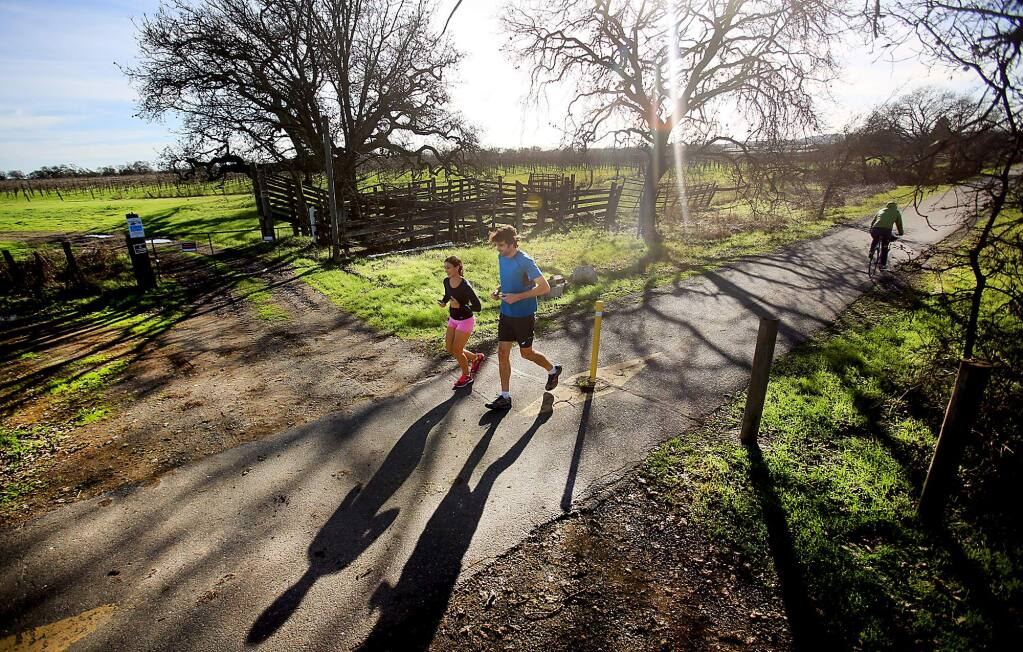 Jennie Panchal and Brendan Williamson run on the Joe Rodota Trail near Sebastopol on Wednesday in front of vineyards owned by Joe Wagner. The Sonoma County Regional Parks has determined Wagner has no current legal right to cross the trail and that any expansion to accommodate a proposed winery would not be of any benefit to the public or the trail.