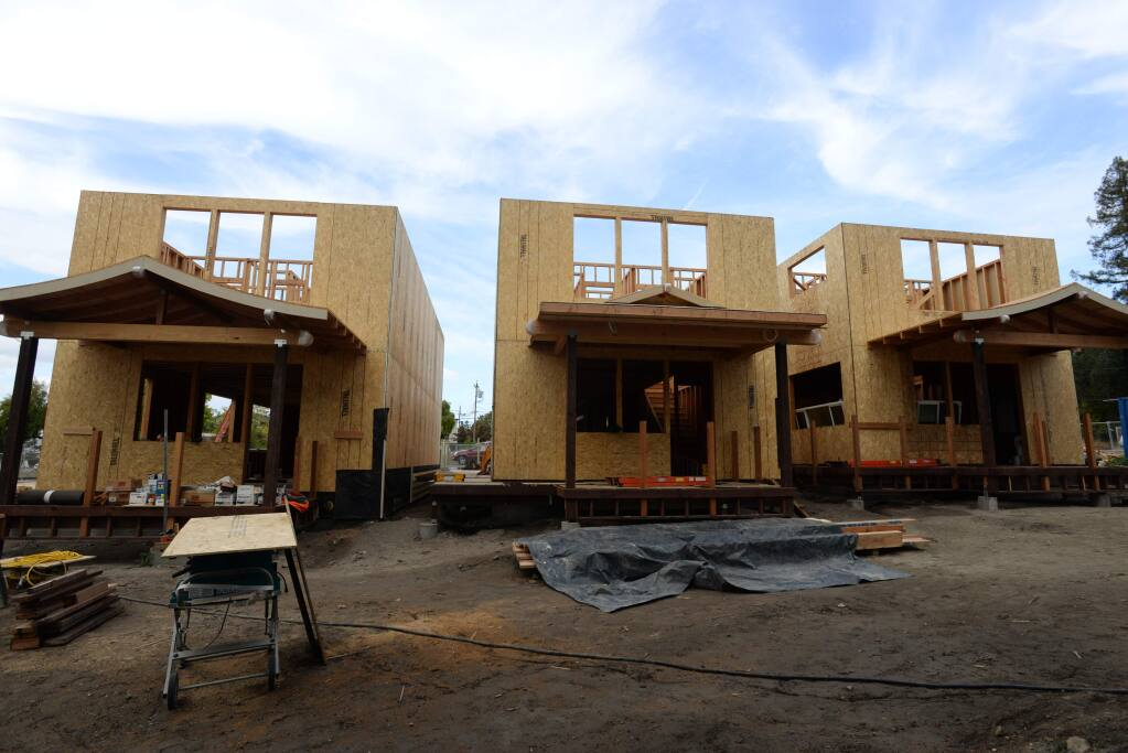 A few of the homes under construction in Graton Park during a celebration of Graton's New Green held Sunday at the Graton Day Labor Center in Graton, California. September 30, 2018.(Photo: Erik Castro/for The Press Democrat)