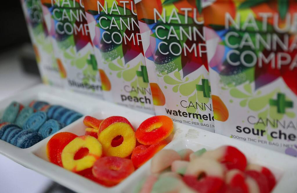 Cannabis infused candy for sale at OrganiCann, in Santa Rosa on Tuesday, September 19, 2017. (Christopher Chung/ The Press Democrat)