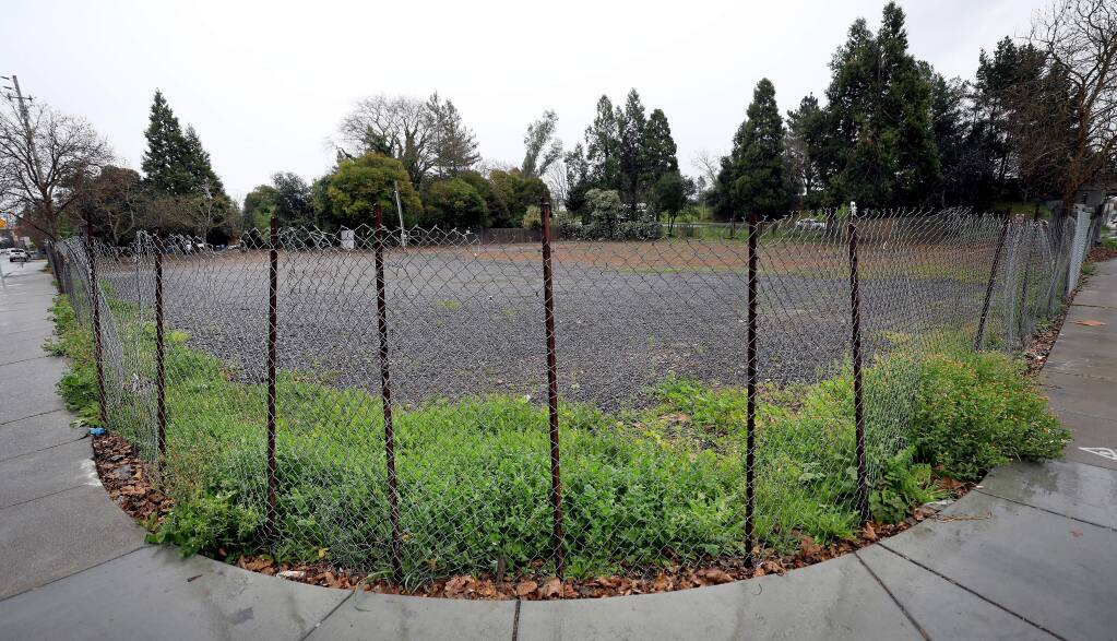 The Phoenix Development Company plans to build 41 affordable housing units on a vacant lot at West Third Street and Dutton Ave. in Santa Rosa, Friday, Feb. 8, 2019. (Kent Porter / Press Democrat) 2019
