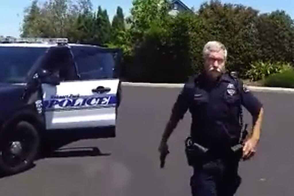 A video taken by a Rohnert Park resident captured his encounter with a police officer who drew his gun after the man refused to take his hand out of his pocket.