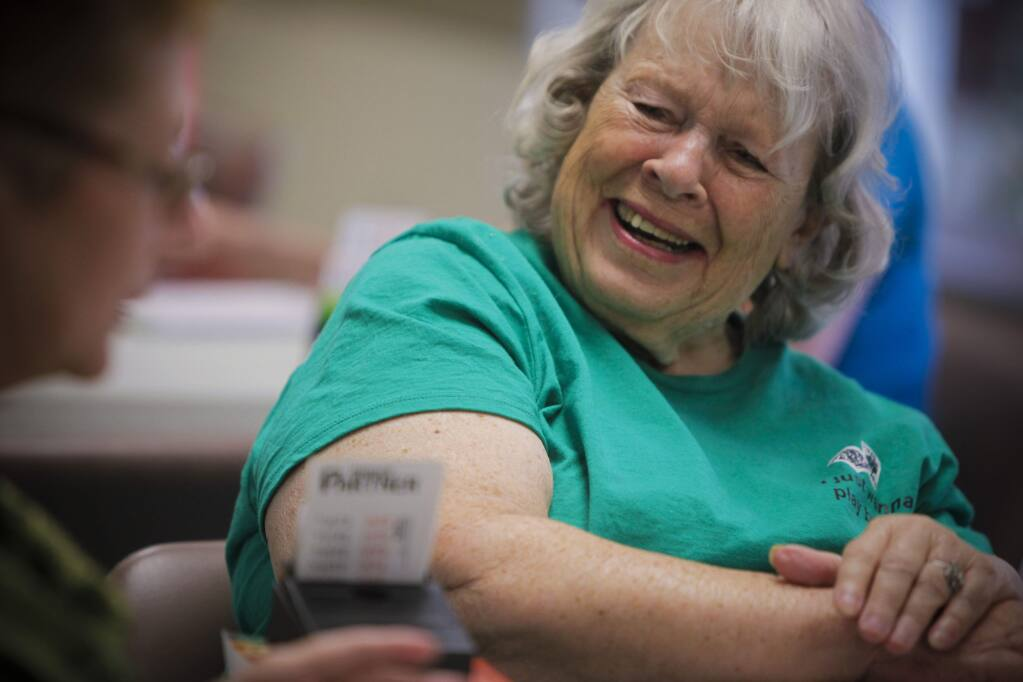 Petaluma, CA, USA. Monday, August 01, 2016._ Irma Ashley is one of the founders of Petaluma's first American Contract Bridge League and they meet regularly at the Senior Center. She moved from Arizona two years ago and was introduced to other bridge players and has been hooked since. She says it has given her the opportunity to socialize and stay active. (CRISSY PASCUAL/ARGUS-COURIER STAFF)