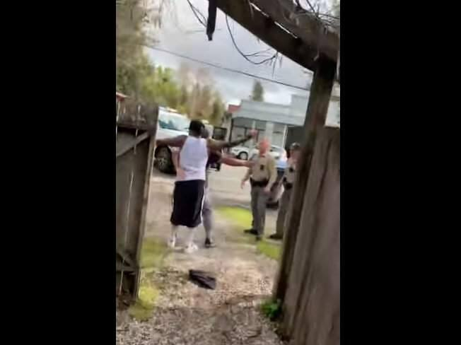 A screenshot from video showing Jason Anglero-Wyrick and authorities in Graton, Saturday, April 4, 2020. (Sarafina Anglero-Evans/YouTube)