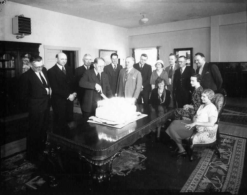 Ernest Finley celebrating with Press Democrat employees, in 1930. As owner, publisher and editor of the PD for 45 years, Finley was not only the keeper of the stories, he was a potent political force and a powerful community advocate. He was among the most forceful promoters of the plan to build the Golden Gate Bridge, was a founder of the Redwood Empire Association and, as the owner of a prize-winning dairy on the Laguna de Santa Rosa, a supporter of Sonoma County agriculture. (Courtesy of the Sonoma County Library)