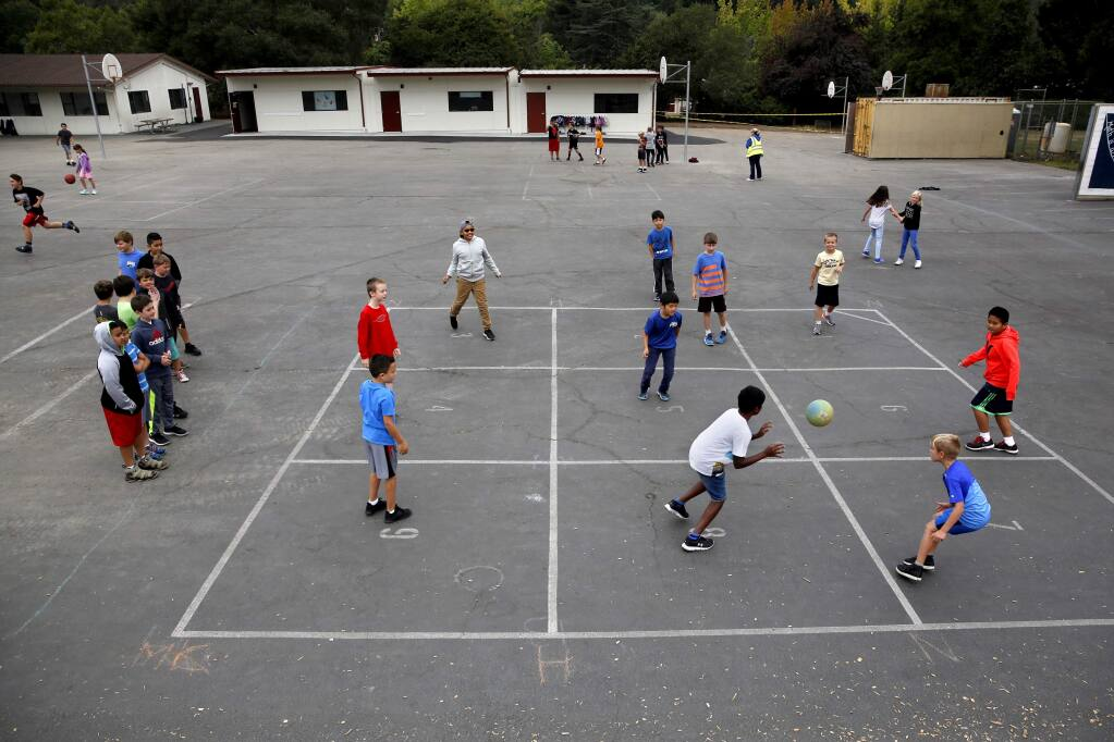 Students play nine square during recess at Hidden Valley Elementary School in Santa Rosa on Wednesday, Aug. 22, 2018. (BETH SCHLANKER/ PD)