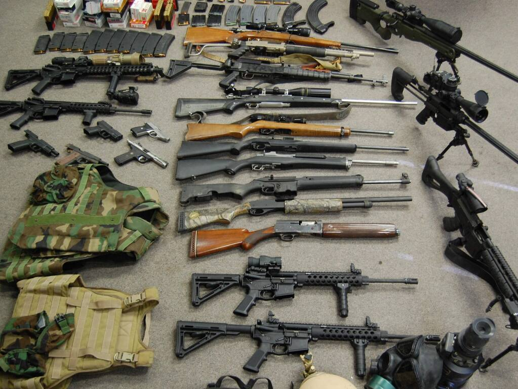 Lake County sheriff's deputies found 22 weapons, including high-powered military-grade sniper and assault rifles and pistols, when they raided a Clearlake Oaks property on May 1, 2013, during an investigation into Ryan Alan Balletto, 30, of Lakeport and Patrick Steven Pearmain, 24, of Clearlake.
