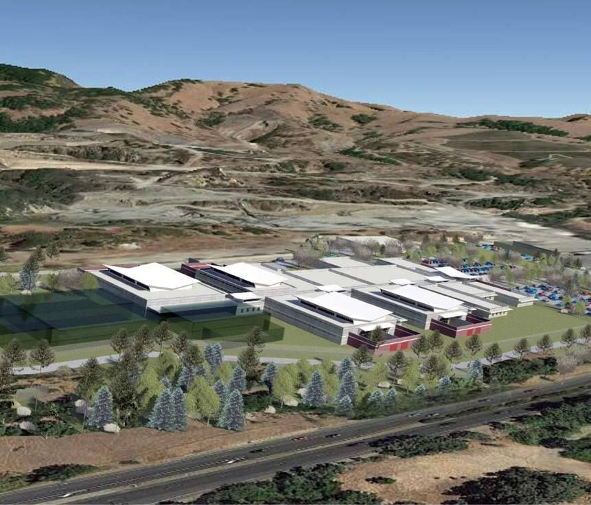 Computer rendering of one concept for a new Napa County jail on 27 acres south of Napa State Hospital, as seen from the northwest with Highway 221 in the foreground and the Syar quarry in the background. Included in the final environmental impact report released Jan. 30, 2014. (COUNTY OF NAPA)