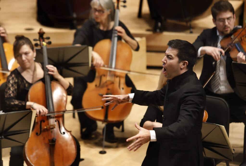 Francesco Lecce-Chong conducts the Santa Rosa Symphony as they perform Mozart's Symphony No. 40 in G minor, K. 550 at the Green Music Center on Sunday, January 13, 2019 in Santa Rosa, California . (BETH SCHLANKER/The Press Democrat)