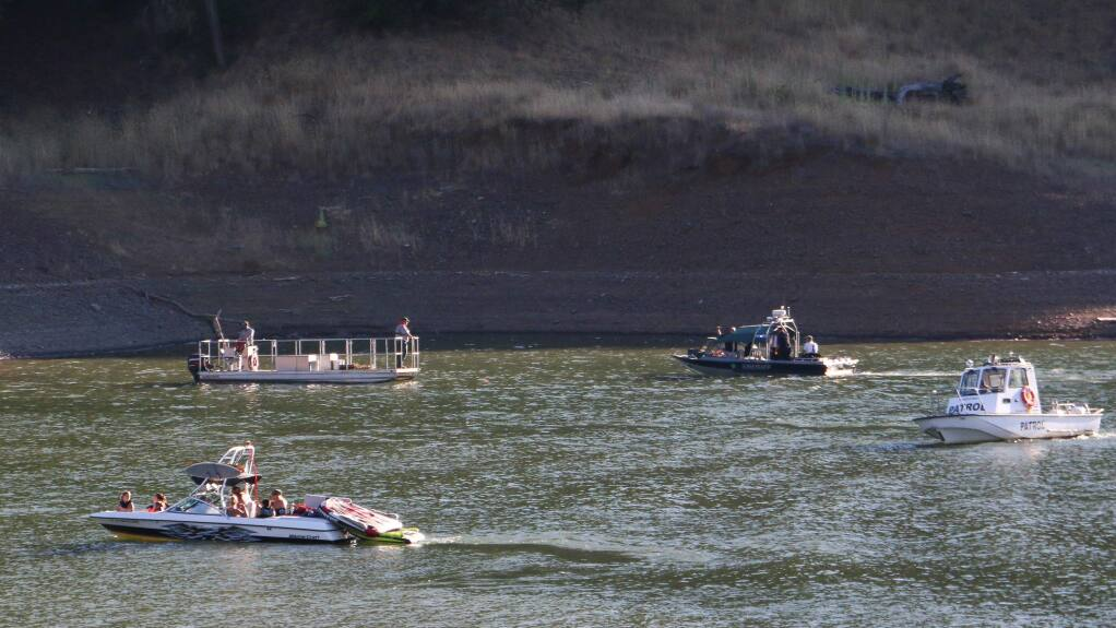 Crews search for a 14-year-old boy who went missing at Lake Sonoma on Saturday, July 4, 2015, after falling off an inner tube. (Photo by Kevin Reyes)