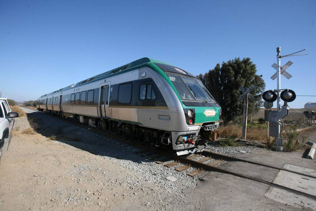 SMART train testing on a section of tracks along HWY 101between Novato and the Landfill Access Rd in Marin County on Thursday, October 22, 2015. (SCOTT MANCHESTER/ARGUS-COURIER STAFF)