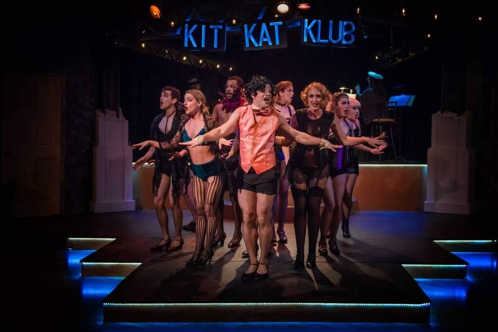 The Emcee (Michael McGurk) and Sally Bowles (Alia Beeton) welcome the audience to the Kit Kat Klub.PHOTO BY ELLY LICHENSTEIN)