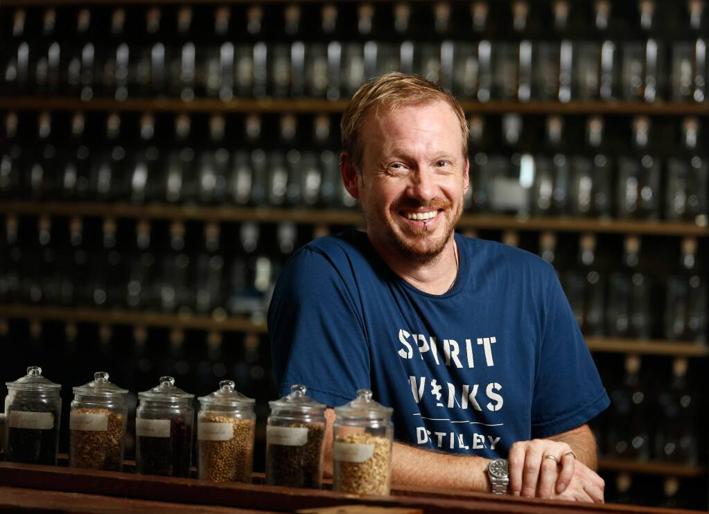 Sloe Gin was deemed an award winner by Good Food's judges from Spirit Works Distillery. Shown is co-founder Timo Marshall in the tasting room of Spirit Works Distillery in Sebastopol. (Alvin Jornada / The Press Democrat)