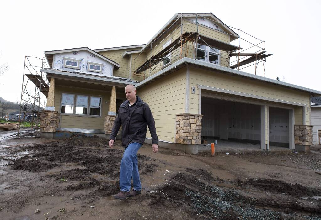 Mike Holdner lost his home in the 2017 wildfires and helped his neighbors by becoming a block captain on Pacific Heights Rd. in Larkfleid. He joined with many of his neighbors to use a single builder to bring down rebuilding costs and hopes to move into his new home soon. (photo by John Burgess/The Press Democrat)