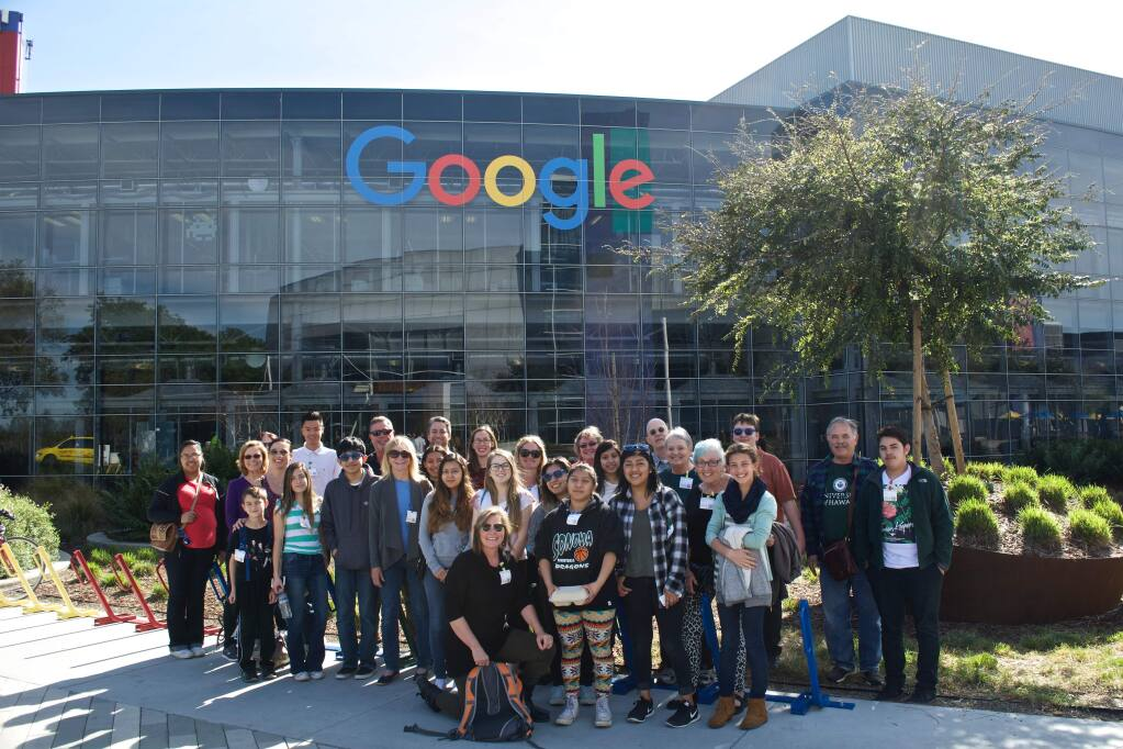 The Sonoma Valley mentors and mentees who toured the Googelpex in Mountain View last month.