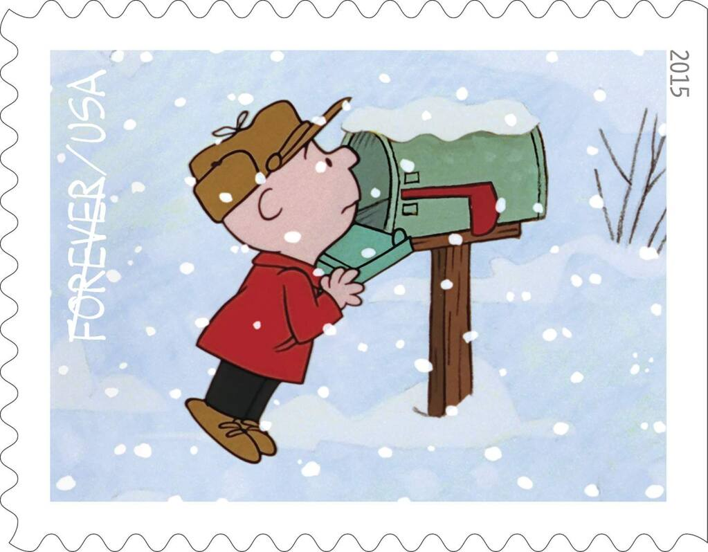 The US Post Office is issuing a set of ten 'Charlie Brown' stamps, marking the 50th anniversary of 'A Charlie Brown Christmas.' (USPS)