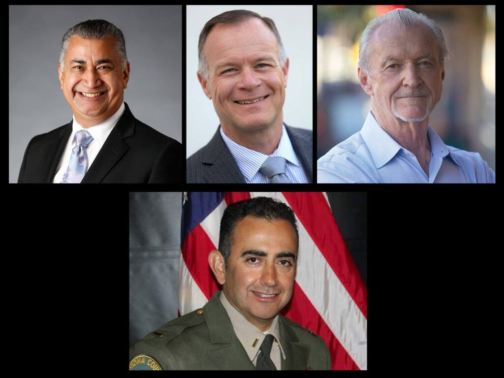 Clockwise from top left: Retired Santa Rosa Police Lieutenant and current Santa Rosa City Councilman Ernesto Olivares, Sonoma County Sheriff's Capt. Mark Essick, Retired Los Angeles Police Capt. John Mutz and Windsor Police Chief and Sonoma County Sheriff's Lt. Carlos Basurto.