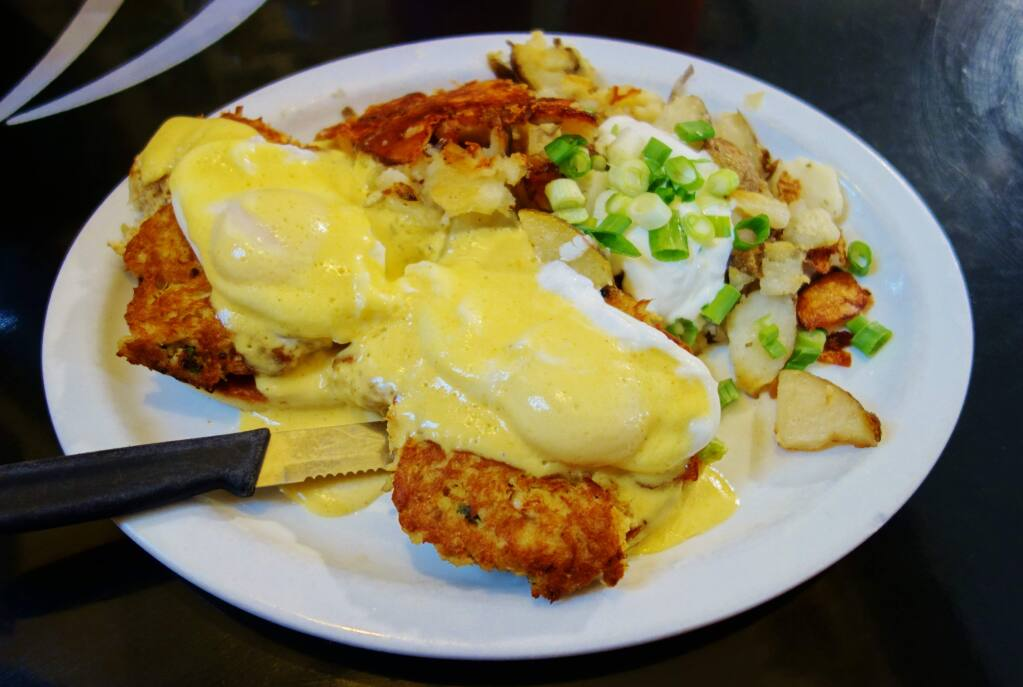 Crabcake Benedict at Sax's Joint in Petaluma. HOUSTON PORTER FOR THE ARGUS-COURIER