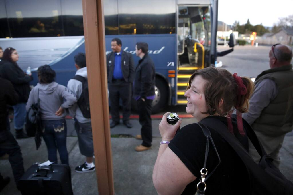 (File photo) Marie Stiffend, waits at the Greyhound stop for her bus to arrive, on the first leg of her journey home to La Pine, Ore. Photo taken in Santa Rosa, on Saturday, December 19, 2015. (BETH SCHLANKER/ The Press Democrat)