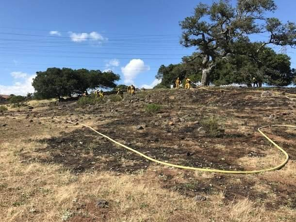 A fire burned almost 2 acres at the top of Fountaingrove in Santa Rosa on Monday, June 12, 2017. (COURTESY OF SANTA ROSA FIRE)