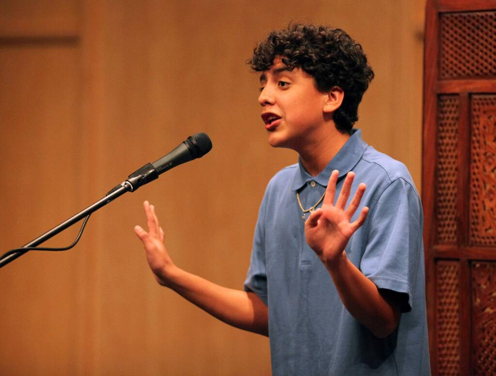 Giovanny Espinosa got the audience laughing as he recited a poem during the first round of the Sonoma County High School Poetry Out Loud Competition in 2010. (The Press Democrat)