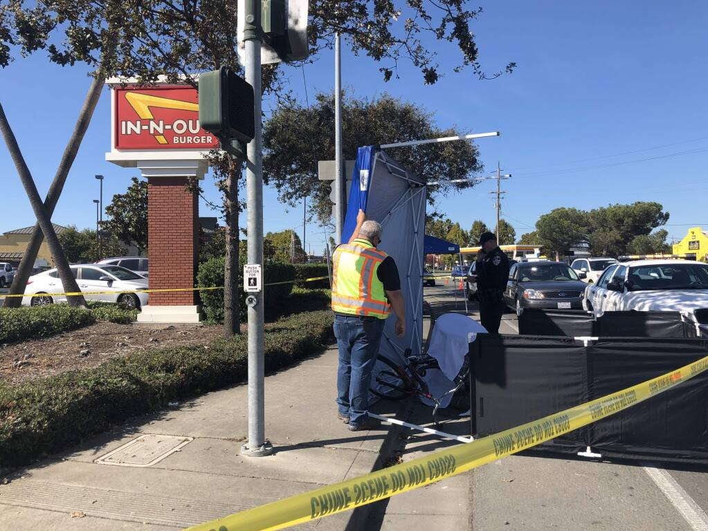 A man riding a large tricycle died in a collision on Lakeville Highway in Petaluma on Wednesday, Oct. 23, 2019. (BETH SCHLANKER/ PD)