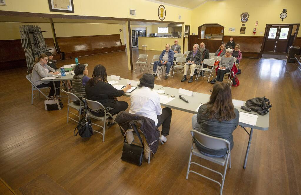 Karlene Navarro, the director of the Sonoma County Independent Office of Law Enforcement Review and Outreach (IOLERO), far left, attends a meeting of the Community Advisory Council in Windsor on Monday, May 6, 2019. Sonoma County intends to support Measure P, a 2020 ballot measure that would increase the authority of Navarro's office, by appealing a labor board's ruling that invalidated key provisions. (JOHN BURGESS/ PD)