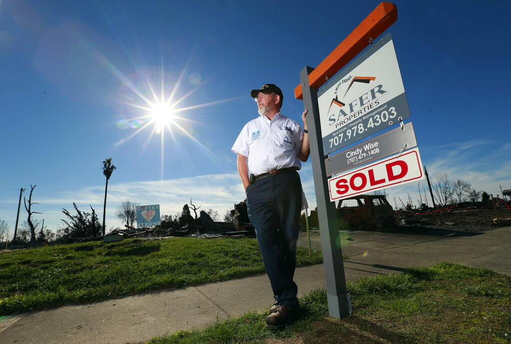 Warren Luke and his wife have sold their Kerry Ln. lot in the Coffey Park neighborhood after their home was destroyed in the Tubbs Fire. The couple have decided to more to Oregon. (photo by John Burgess/The Press Democrat)