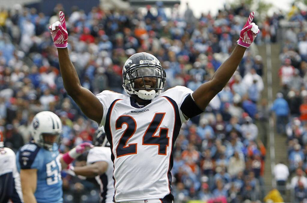 In this Oct. 30, 2010, file photo, Denver Broncos defenders Champ Bailey celebrates after the Broncos recovered a kickoff that the Tennessee Titans could not hang onto late in the fourth quarter in Nashville, Tenn. Bailey will be inducted into the Pro Football Hall of Fame in Canton, Ohio on Aug. 3, 2019. (AP Photo/Mark Humphrey, File)